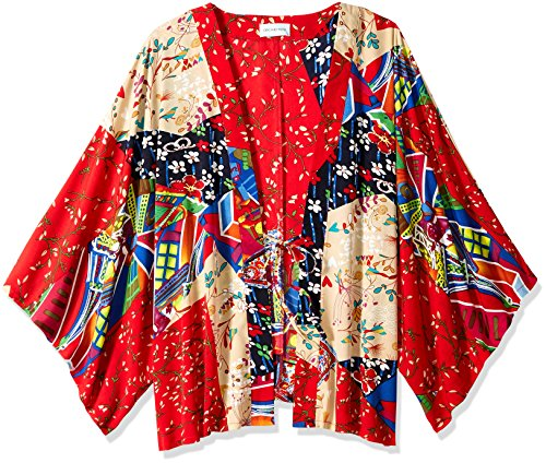 - Orchid Row's Kimono Printed Chiffon Open Front Red