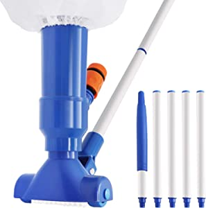 PoolVacuum Cleaner, Handheld Pool LeafVacuum with 5-Section Pole and Filter Bag, Pool Vacuum Brush for Above Ground Pool Inground Pool Spa Pond Hot Tub (No Garden Hose Included)