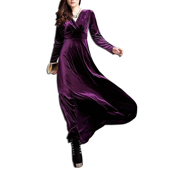 KAXIDY Elegante Mujer Terciopelo Vestidos V-Cuello Vestidos de Noche Vestidos de Cóctel Vestido Largo