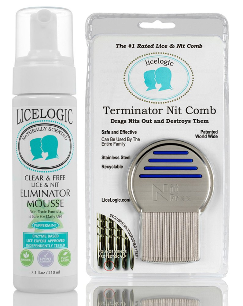 LiceLogic Lice & Nit Eliminator Mousse Treatment Kit - No Pesticides - 2 Piece Kit For One Day Lice Treatment With # 1 Rated Terminator Nit Comb