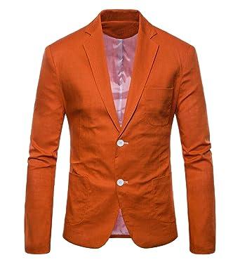 3f6b16884167 WAWAYA Mens Blazer Jacket Lightweight Casual Slim Fit One Button Sport  Jackets 1 XXS