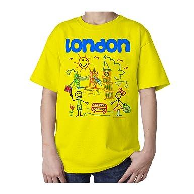 Selección de fútbol de Inglaterra UK de Londres de Souvenir de Valentina Ramos infantil con forma de T-camiseta de manga corta: Amazon.es: Ropa y accesorios