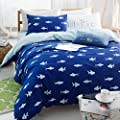 EsyDream 100% Cotton Blue Ocean Shark Print Kids Bedding Set No Comforter