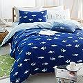 EsyDream 100% Cotton Blue Ocean Shark Print Kids Bedding Set No Comforter