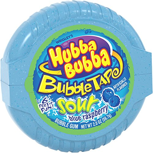 (Hubba Bubba Sour Blue Raspberry Bubble Gum Tape, 2 ounce (Pack of 6))