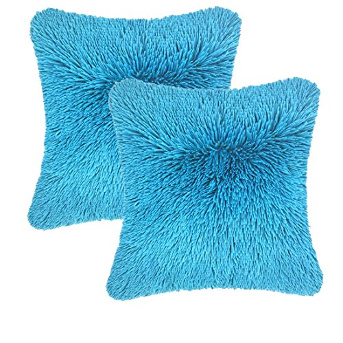 Aqua Blue Fur (Throw it Super Fluffy Soft Cozy Silky Hand Feeling Fuzzy Plush Faux Fur Square Throw Pillow Case Shaggy Cover 18