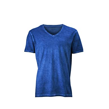 JAMES & NICHOLSON Herren T-Shirt, Einfarbig Gr. Small, Bleu denim