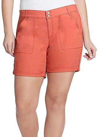 0a09c22ef10 Gloria Vanderbilt Women s Maren Twill Shorts (Bright Hibiscus