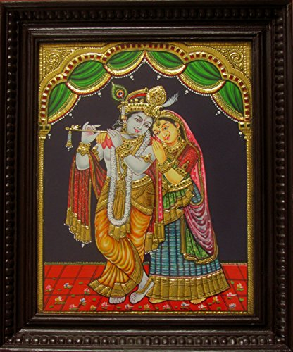 1.25' Flute (Chola Impressions Exclusive Radha Krishna Tanjore Painting 1.25 ft x 1 ft)