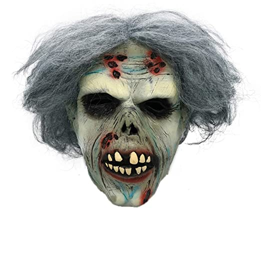 amazoncom yezijin halloween mask for men scary scary zombie latex mask with hair cosplay helmet halloween costume a clothing