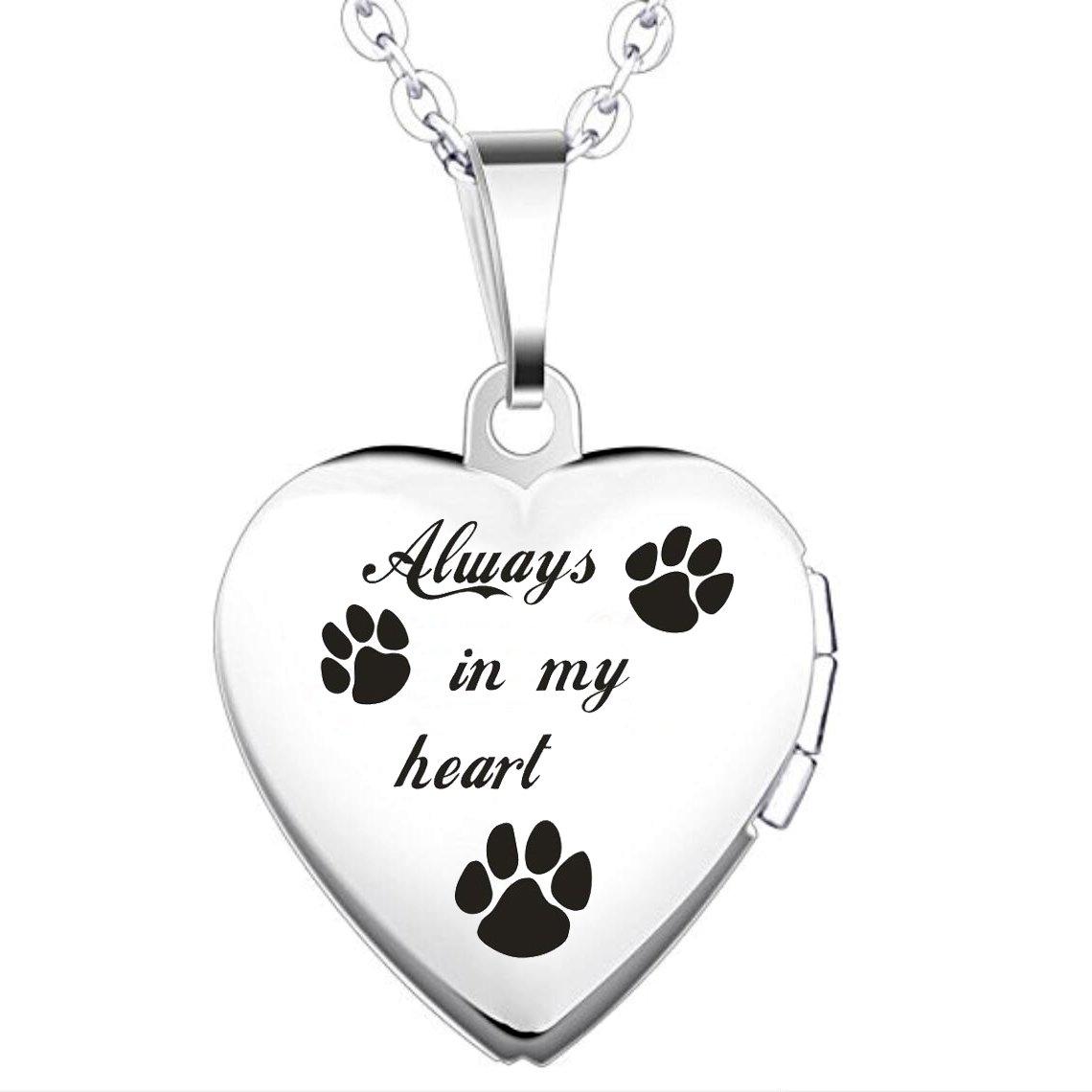 IXIQI Locket Always In My Heart Titanium Heart Infinity Love Locket Necklace UK_B07BNLRKP2