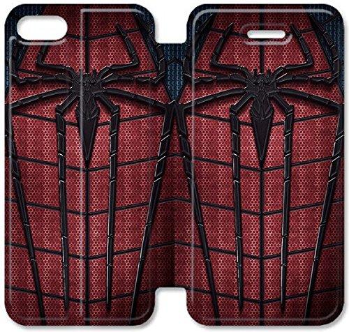 Flip étui en cuir PU Stand pour Coque iPhone 5 5S, bricolage étui de téléphone cellulaire 5 5S The Amazing Spider-Man C6X6XO Coque iPhone Housse en cuir