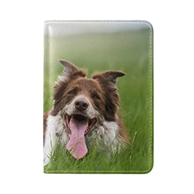 Dog Protruding Tongue Grass Leather Passport Holder Cover Case Travel One Pocket