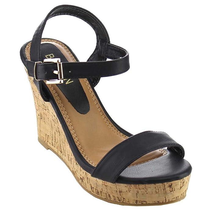 62120857999e BESTON Fashion Focus Super-1 Women s Classic Platform Criss Cross Cork Wedge  Dress Sandals
