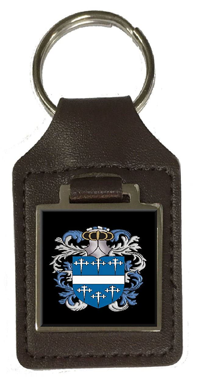 Rattray Family Crest Surname Coat Of Arms Brown Leather Keyring Engraved