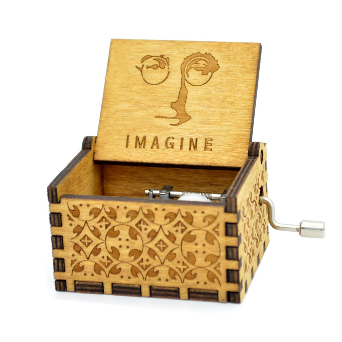Imagine Music Box- 18 Note Mechanism Antique Carved Wooden Music Box Crafts Desk Decoration (Imagine)