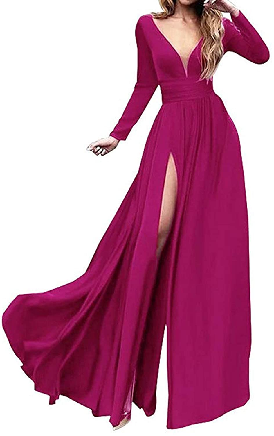 Fuchsia Ri Yun Women's Double VNeck Long Sleeve Prom Dresses Long 2019 Side Slit Formal Evening Ball Gowns