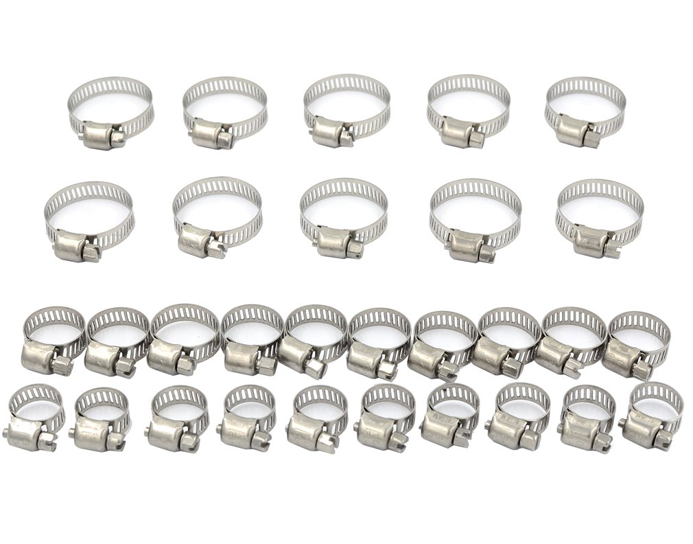DGOL 30 pcs 304 Stainless Steel Adjustable Screw Band Worm Drive Hose Clamps,Hoop Pipe Clips With 3 Sizes 6mm-29mm