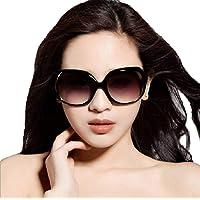Ziory UV400 Plastic Polycarbonate Acrylic Oversized Men's and Women's Sunglasses (Black)