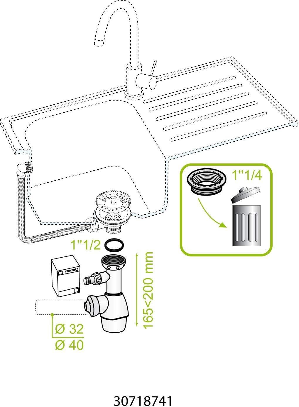 Wirquin 30718741 Blanc TOUT EN 1 Siphon universel pour /évier // lavabo