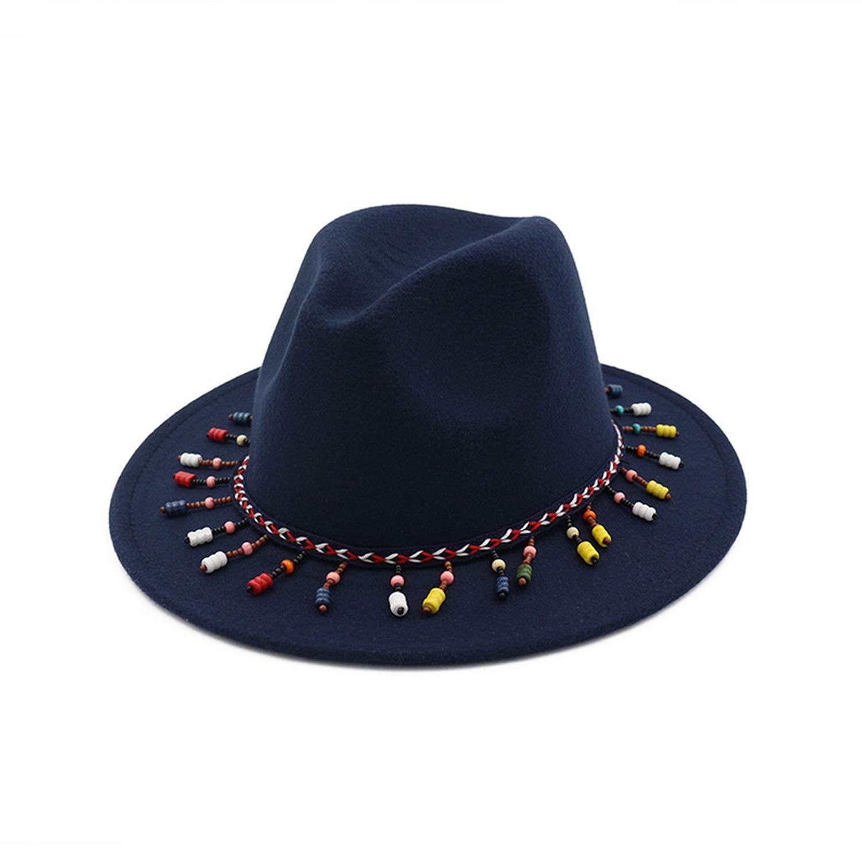 DOSOMI Women Wool Felt Fedora Autumn Winter Ladies Tassel Cowboy hat Jazz Hat Bowler Hard Cotton Round hat