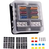 6-Way Fuse Block with Ground, 6 Circuit ATC/ATO Fuse Box Holder with Negative Bus, Protection Cover & LED Light Indication, Bolt Terminals, 70 pcs Stick Label, for Auto Marine, Boat, with 12 pcs Fuse