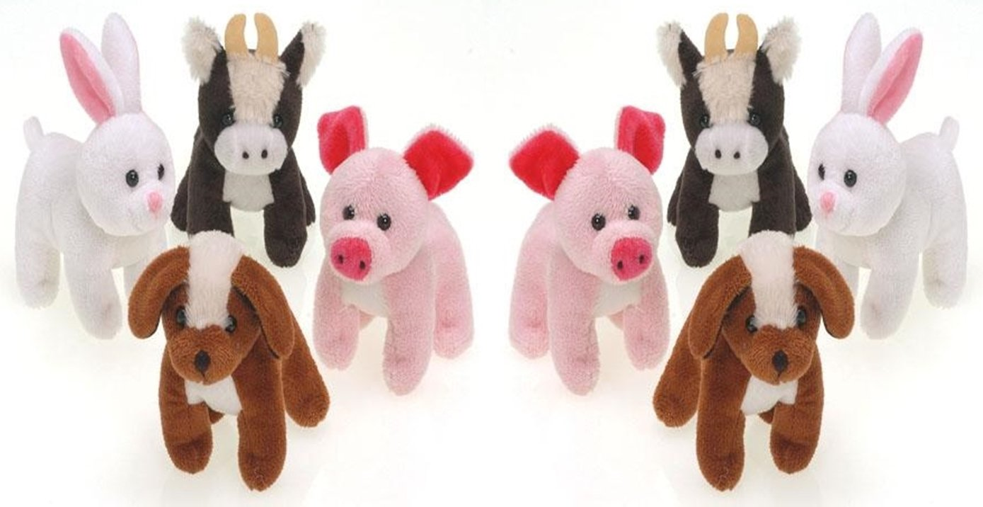 happy deals 12 Plush Farm Animals - cows, pigs, rabbits and dogs - 5 inch