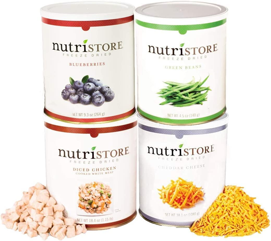 Nutristore Freeze Dried Assortment Variety Pack | (Chicken, Cheddar, Blueberries, & Green Beans) | Amazing Taste & Quality | Emergency Survival Supply | 25 Year Shelf Life