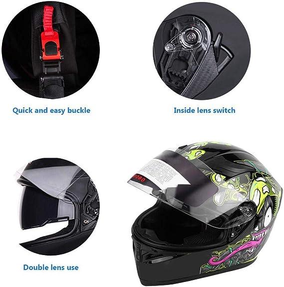 M Bicicletta Grafica di Funghi Velenosi M//L//XL//XXL EBTOOLS Casco da Moto Casco da Corsa Casco Completo per Moto Turismo