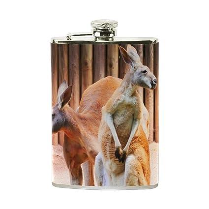 93cc63c5174c8 Amazon.com   Steel Stainless Flask, Cute Red Kangaroo Leather Pocket ...