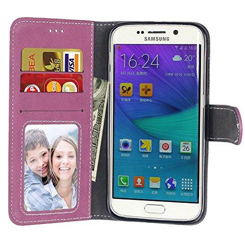 SRY Caja de la carpeta de cuero de la PU superior Flip Folio funda protectora con ranura para tarjeta / soporte para Samsung Galaxy S6 Edge ( Color : Rose ) Rose