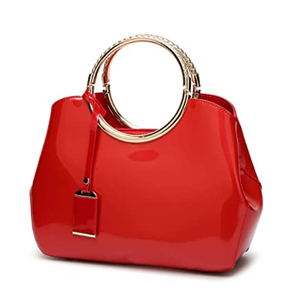 Womens Red Handbags Ladies Top Handle Bags Patent Leather Stylish Tote Shoulder  Bags Purse  Amazon.co.uk  Luggage 81eee05756ad1
