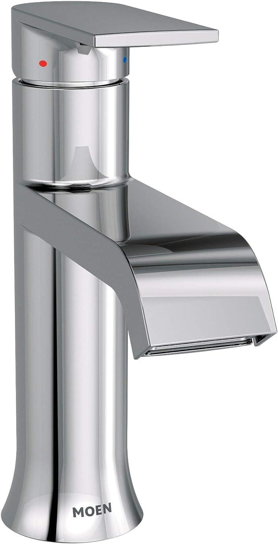 Moen 6702 Genta One Handle Single Hole Modern Bathroom Sink Faucet With Optional Deckplate Chrome Amazon Com