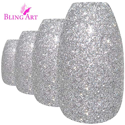 Bling Art Ballerina False Nails Silver Gel Coffin 24 Fake Long Acrylic Tips