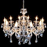 Ridgeyard Luxurious 10 Lights K9 Crystal Chandelier Candle Cognac Pendant Lamp Living Room Ceiling Lighting for Dining Bedroom Hallway Entry (10 Lights)
