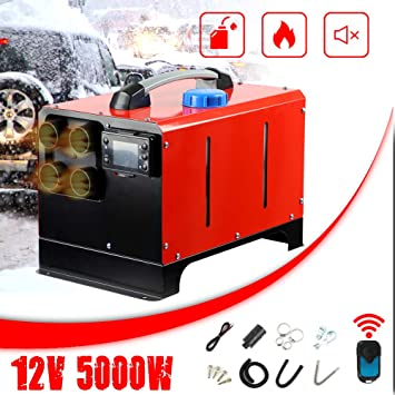 jinclonder 5KW 12V//24V Diesel Air Heater Air Parking Heater,All in One Integration Four Holes Air Diesels Parking Heater LCD Screen Switch Car Heater with Remote Control