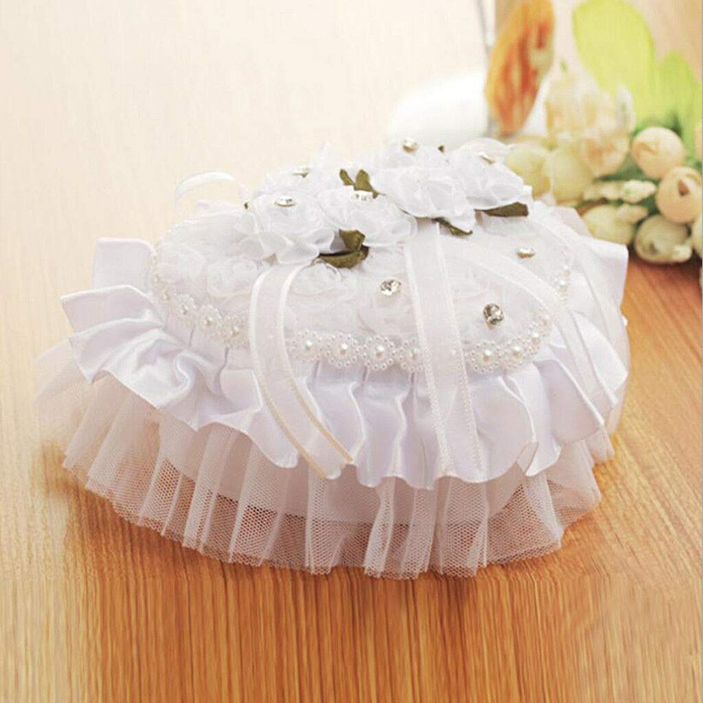 BROSCO Wedding Ring Pillow Heart Decorative Box with Crystals Pearls Silk Flowers