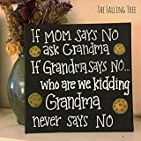 Funny Mom and Grandma Sign ''Grandma Never Says No'' Hand painted Canvas