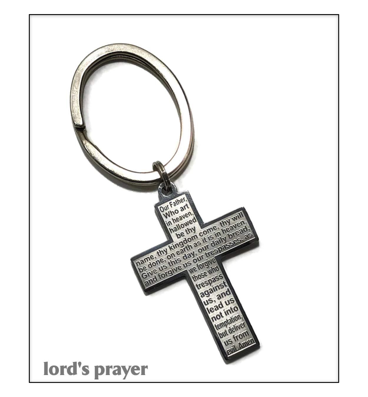 KarmaArm Keychain | Lord's Prayer | Cross | Our Father Spiritual Prayer Reiki Healing Yoga Chakra Meditation Christian Faith Key Ring