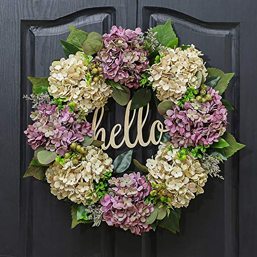 QUNWREATH Handmade Floral 18 inch Purple Hydrangea Series Wreath,Gifts Package,Wreath for Front Door,Rustic Wreath,Farmhouse Wreath,Grapevine Wreath,Light up Wreath,Everyday Wreath,QUNW65