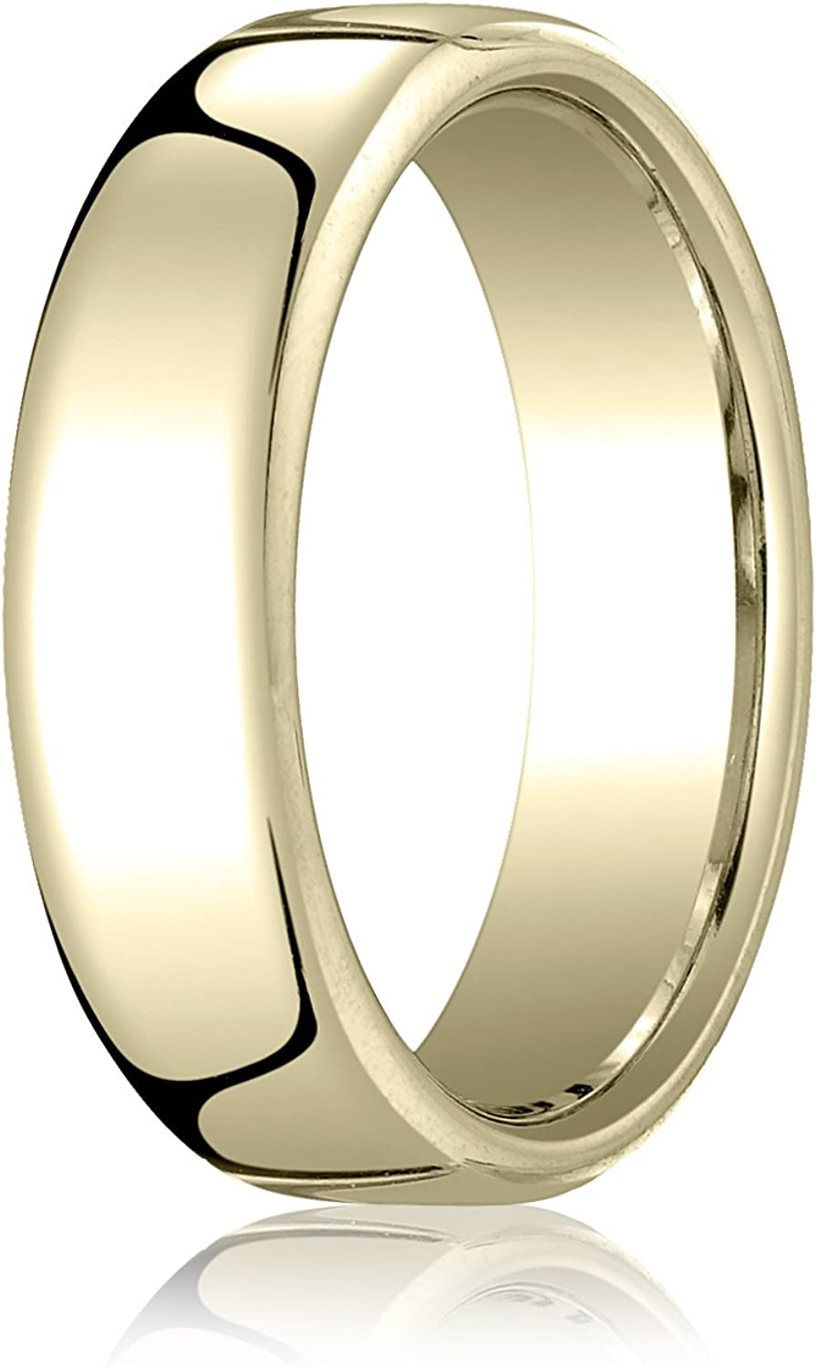 Men's 10K Yellow Gold 6.5mm London Couture Comfort Fit Wedding Band Ring