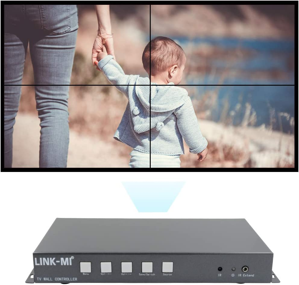 LINK-MI TV04S Splicing HDMI 2x2 Video Wall Screen Controller USB//HDMI Input Support 180 Degree Mirror Flip for LED//LCD Display Edge Shielding
