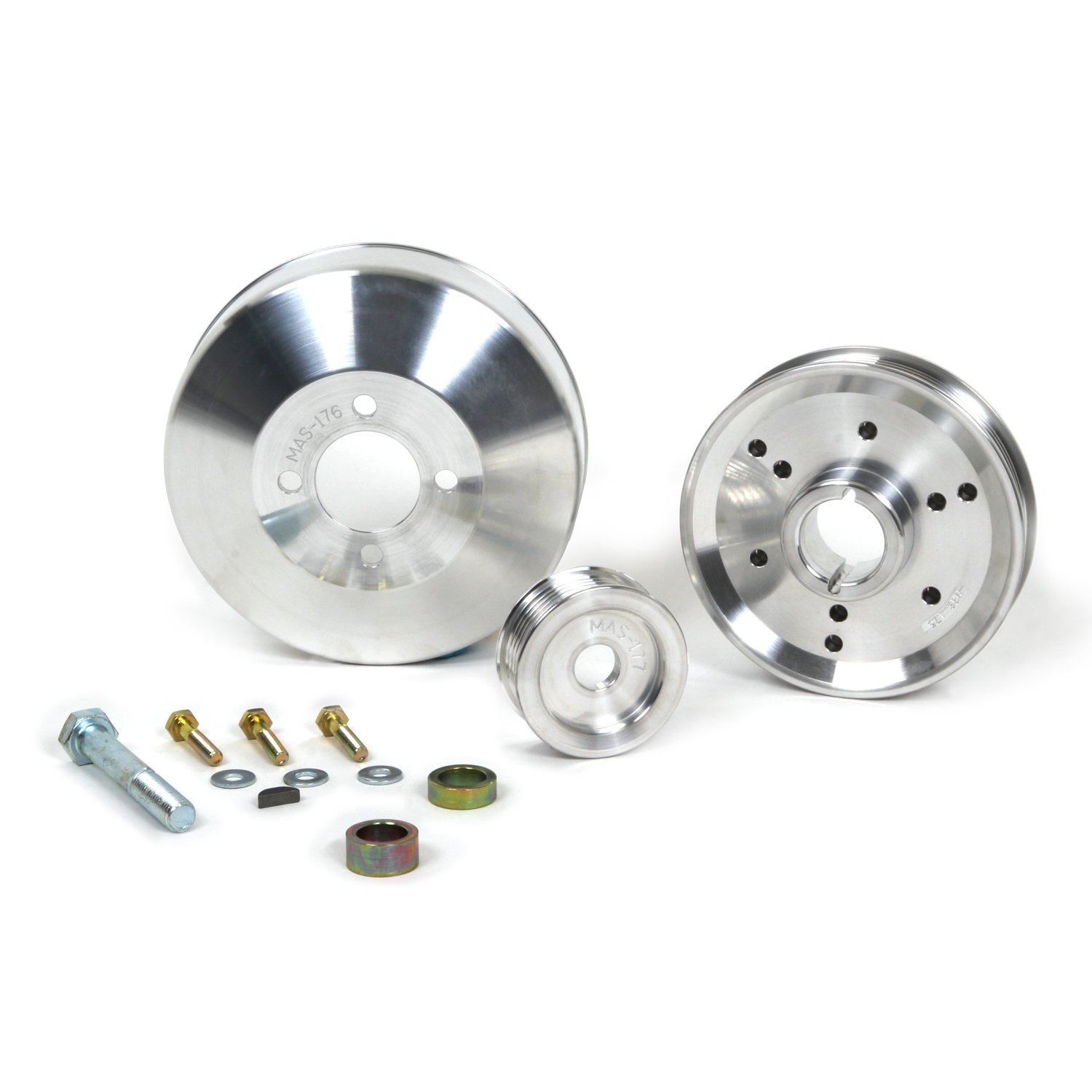 BBK 1555 Underdrive Pulley Kit for Ford Mustang 4.6/ GT/Cobra - 3 Piece Lightweight CNC Machined Aluminum Kit BBK Performance
