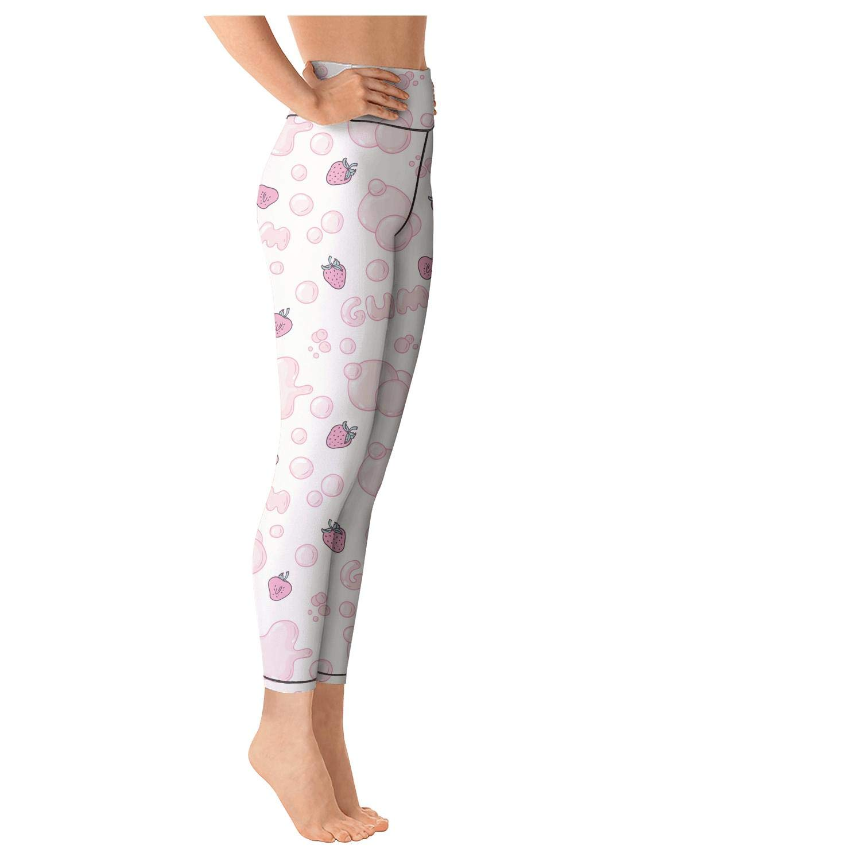klkljn Womens Yoga Pants Breathable Leggings Strawberry Bubble Gum Sports Capris
