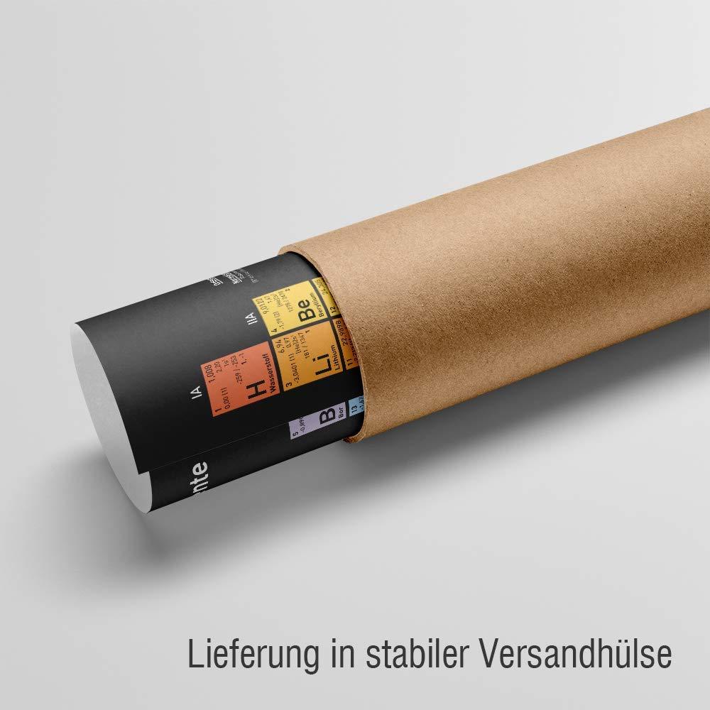 /· Poster /· 42x29,7 cm /· DIN A3 /· gedruckt auf Latexpapier /· aktueller Stand 2019 Periodensystem der Elemente deutsch wasserfest und unverw/üstlich