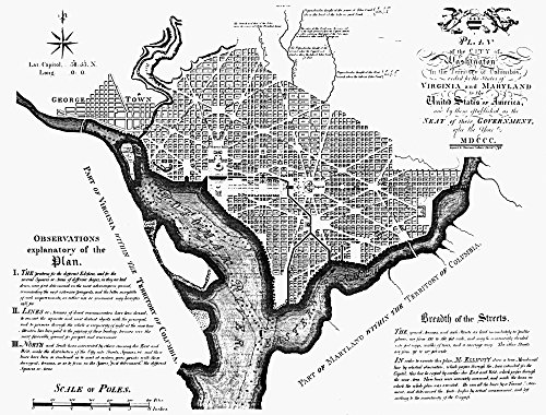 Washington DC Plan 1792 Nandrew EllicottS Engraved Map Of 1792 Based On Pierre Charles LEnfantS Manuscript Plan Which Was Adopted By Congress As The Final Plan For The Federal City Of Washington Poste