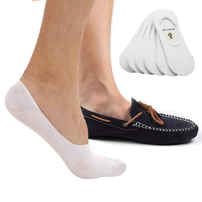 No show calcetines 8bess regalo calcetines para hombre corte bajo antideslizante Grips (Pack de 6) Blanco blanco M : Amazon.es: Ropa y accesorios