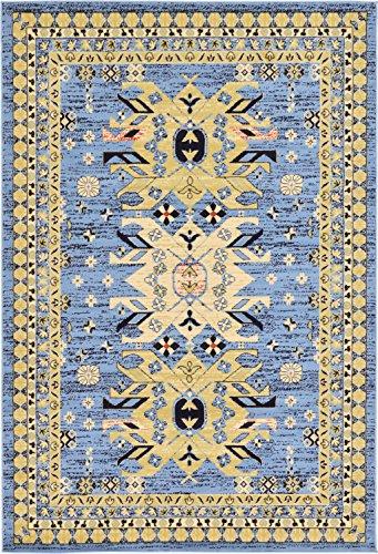 Unique Loom Taftan Collection Geometric Tribal Light Blue Area Rug (6' x 9')