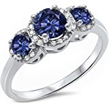 3 Round Simulated Tanzanite & Cz Fashion .925 Sterling Silver Ring Sizes 3-13