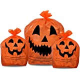 KINREX Halloween Pumpkin Plastic Lawn and Leaf Bags Decoration - Outdoor Fall Trash Bag Decor - Orange Jack O Lantern - Pack of 3 with Twist Ties